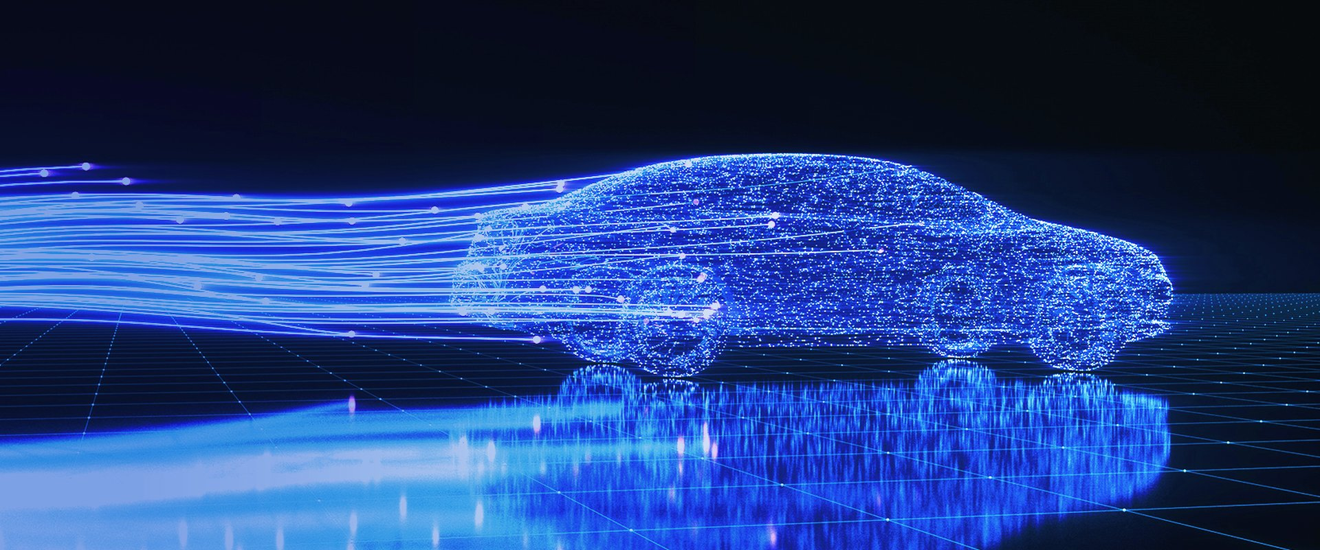 The digital car - Image of a car made of light in the dark.