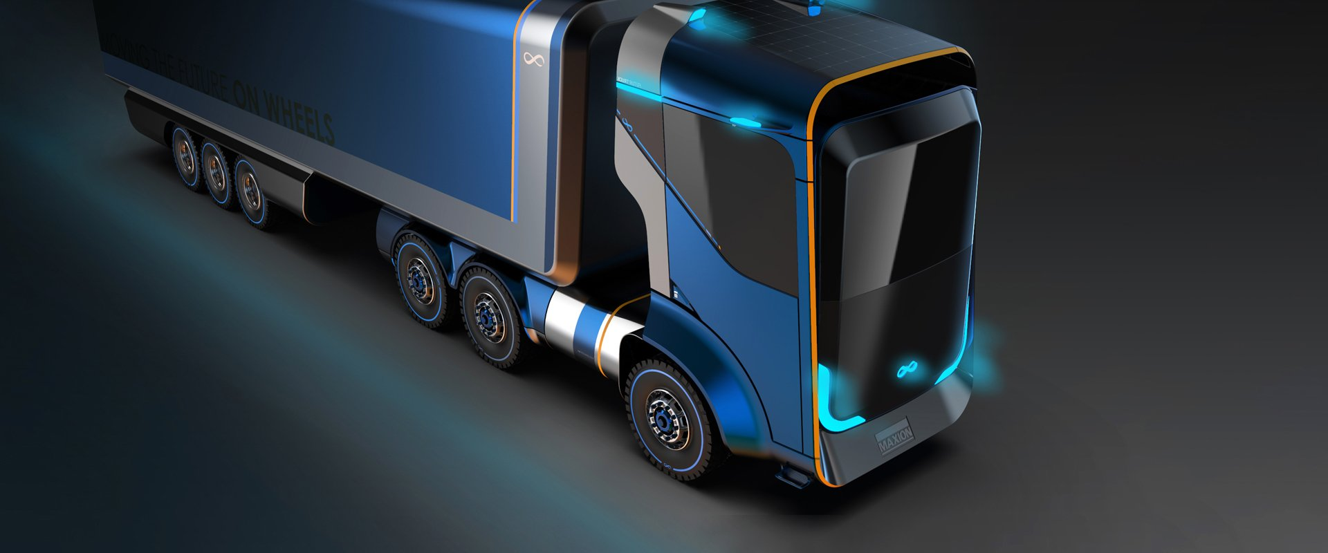 A picture of a truck that demonstrates fuel efficiency of the aerowheel by Maxion Wheels