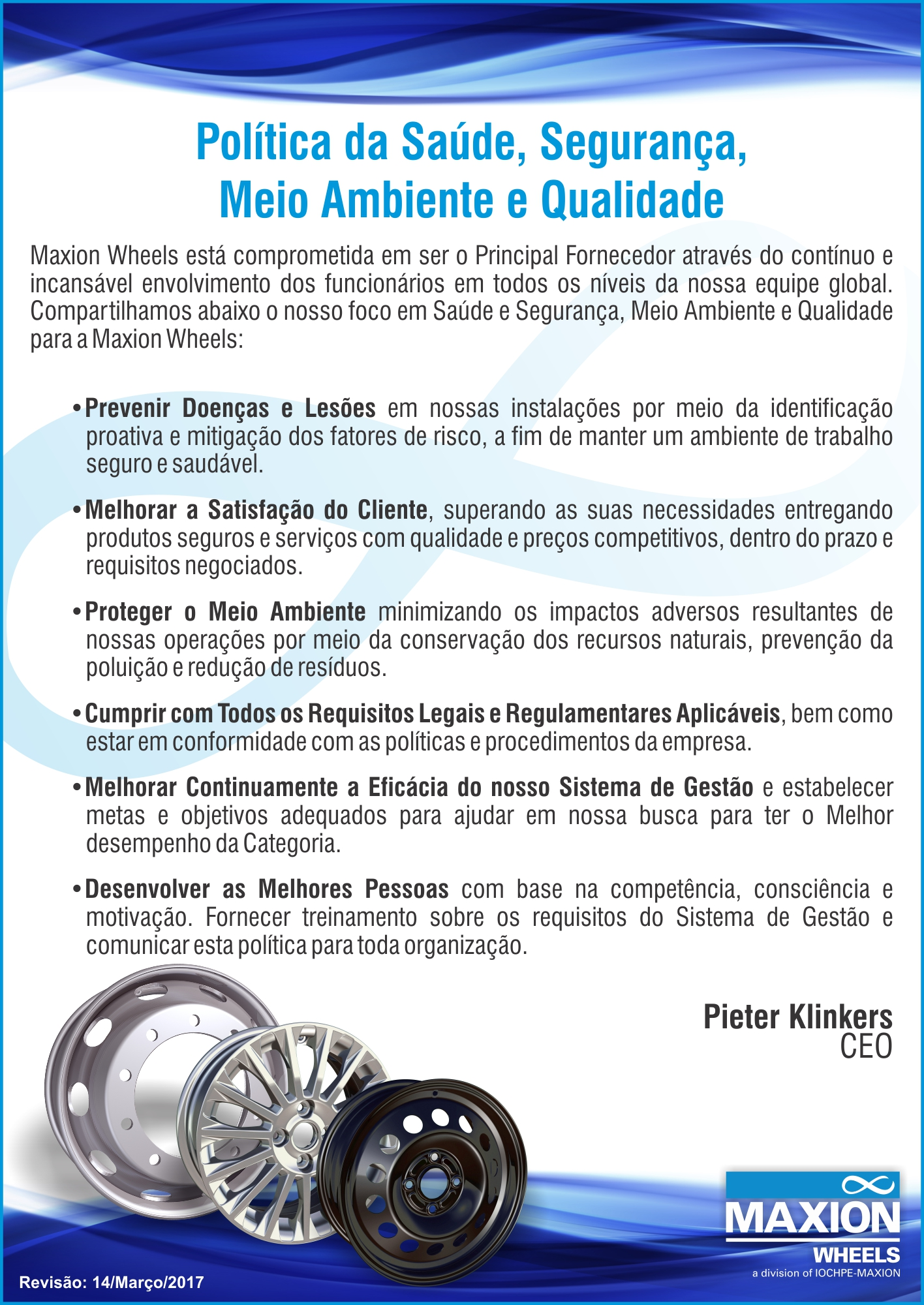 Maxion Wheels HSEQ Policy Statement (Portuguese)